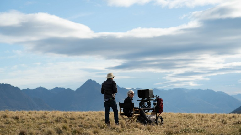 Jane Campion on the set of The Power of the Dog