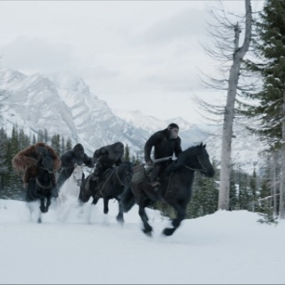 Apes on horseback with mountains