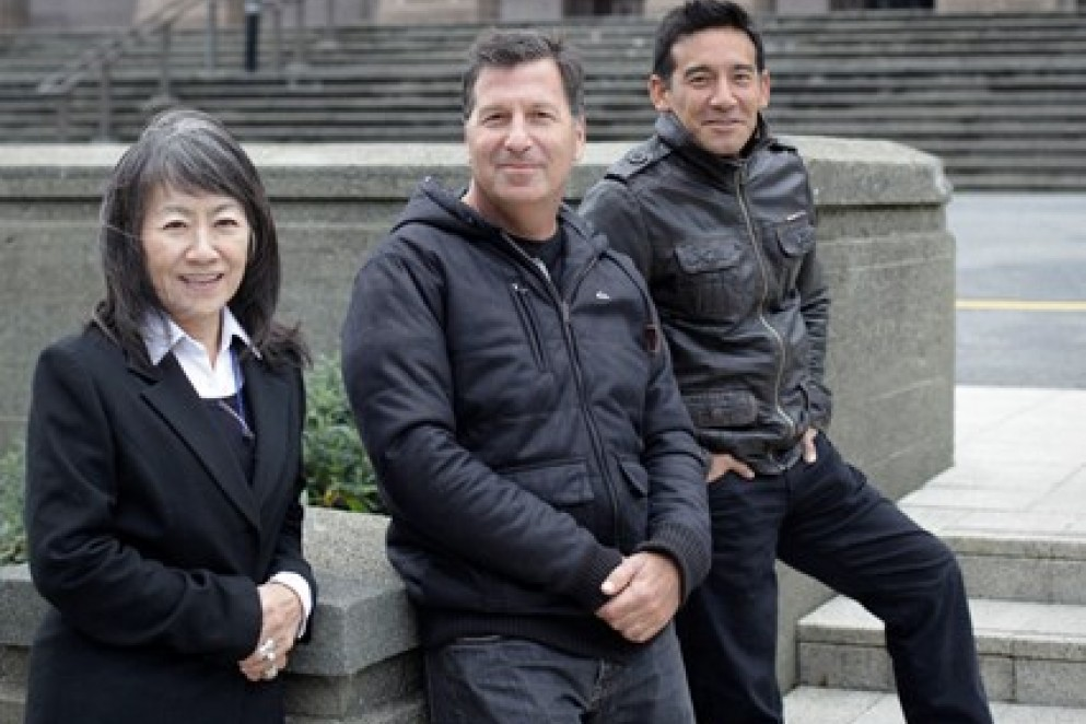 Yoko, Gary, and Eugene were photographed outside Massey University in Wellington.