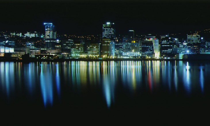 City at night, Wellington, North Island