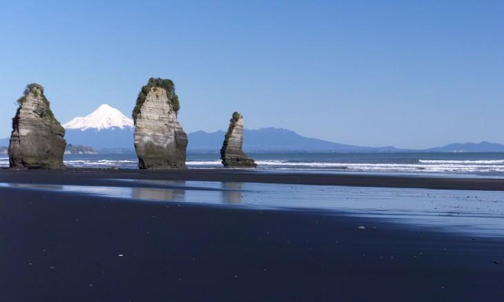 Three Sisters & Mt Taranaki, Taranaki, North Island
