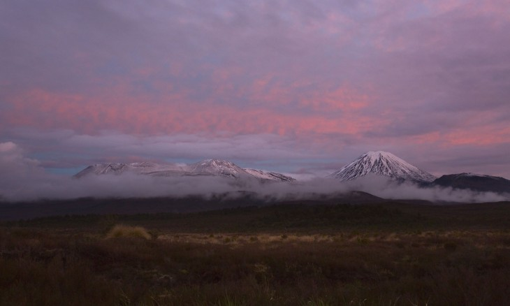 Mt Ngauruhoe and Mt Ruapehu, Central Plateau, North Island