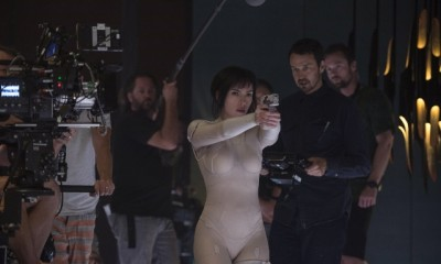 Scarlett Johansson on the set of Ghost in the Shell