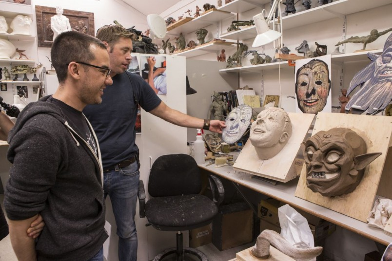 Director Michael Dougherty and Workshop Supervisor Rob Gillies review Dark Elf masks.