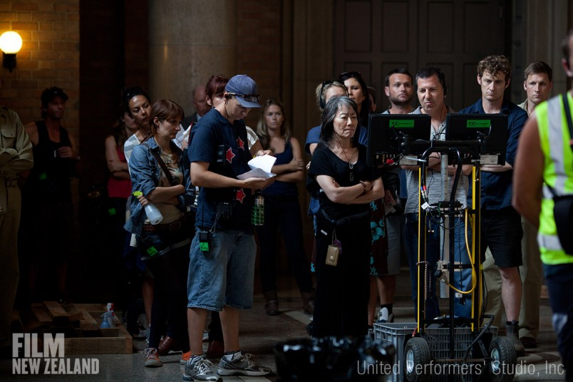 ​Yoko Narahashi and Gary Foster watching the monitor on location at Railway Campus