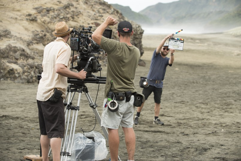 Setting up to shoot Deep Down Under on Piha Beach